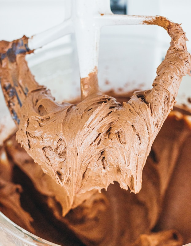 chocolate buttercream on a beater