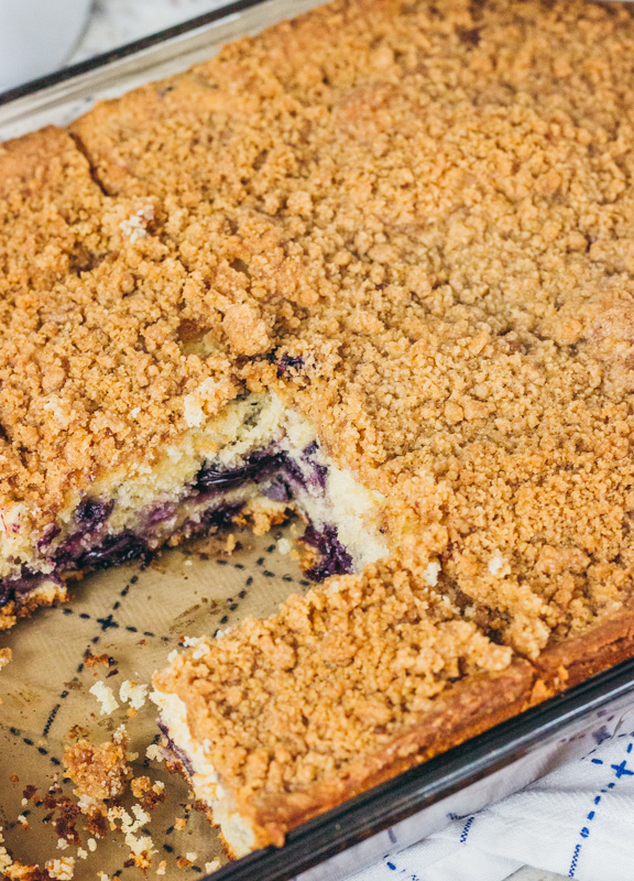 top view of blueberry crumb cake