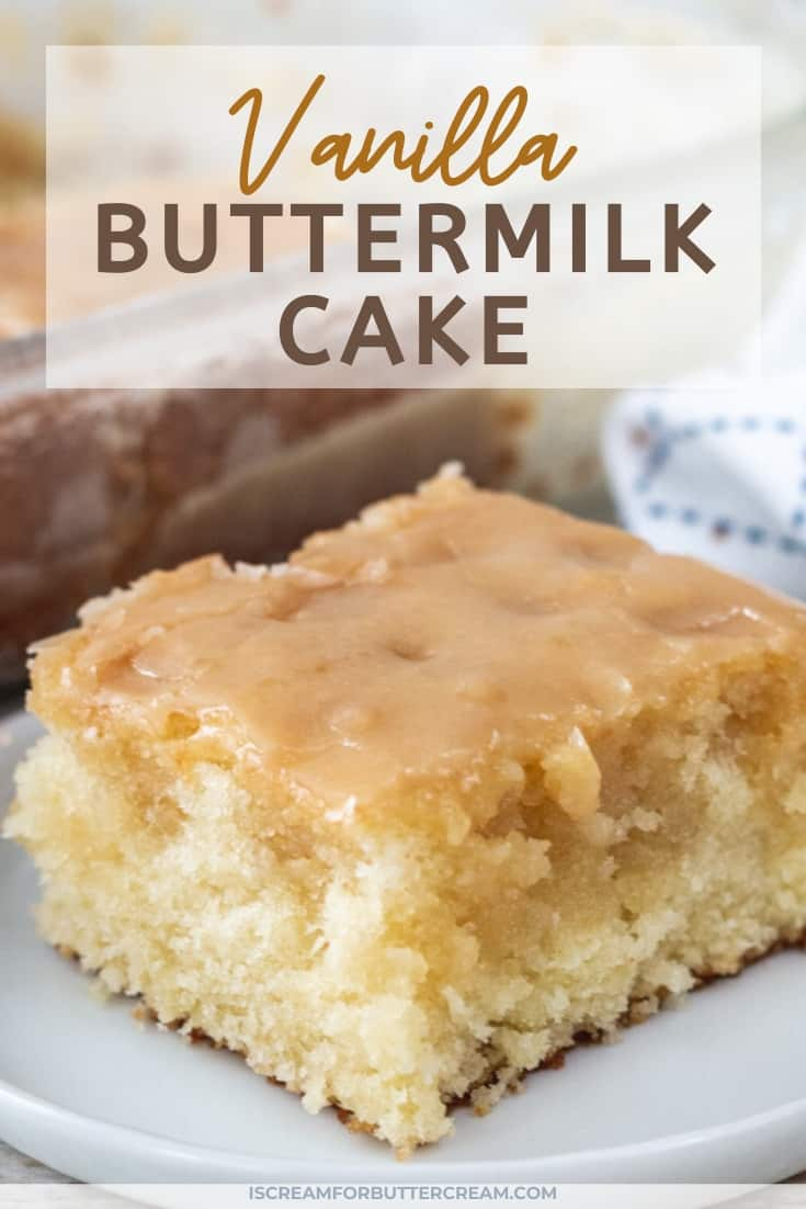 Moist Vanilla Buttermilk Cake pin graphic 1
