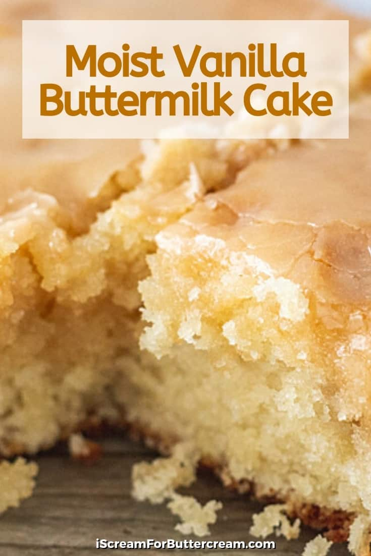 Moist Vanilla Buttermilk Cake pin graphic