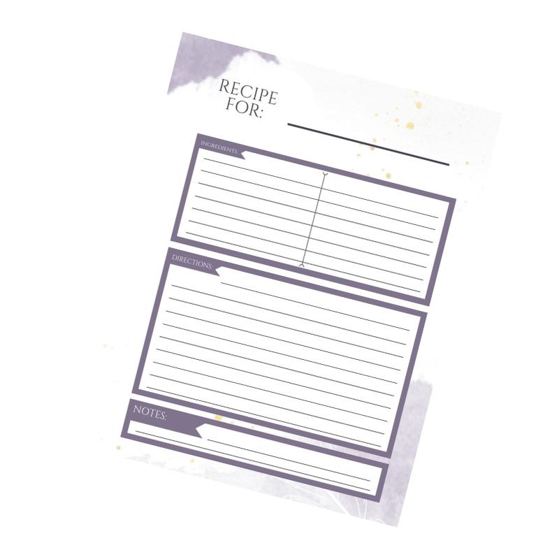 stampabili di schede di ricette viola