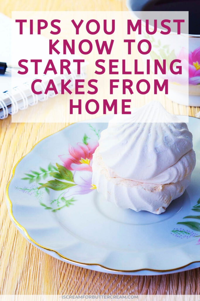 tips for selling cakes pin graphic with cupcake
