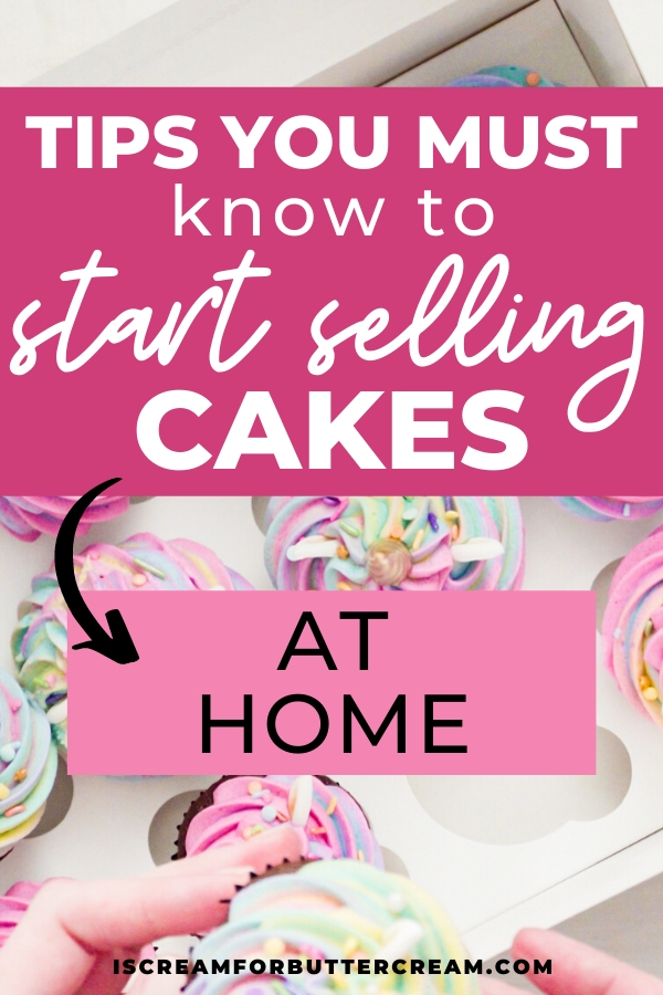selling cakes pin graphic with cupcakes