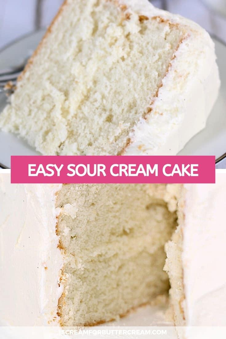 Easy White Sour Cream Cake Pin graphic
