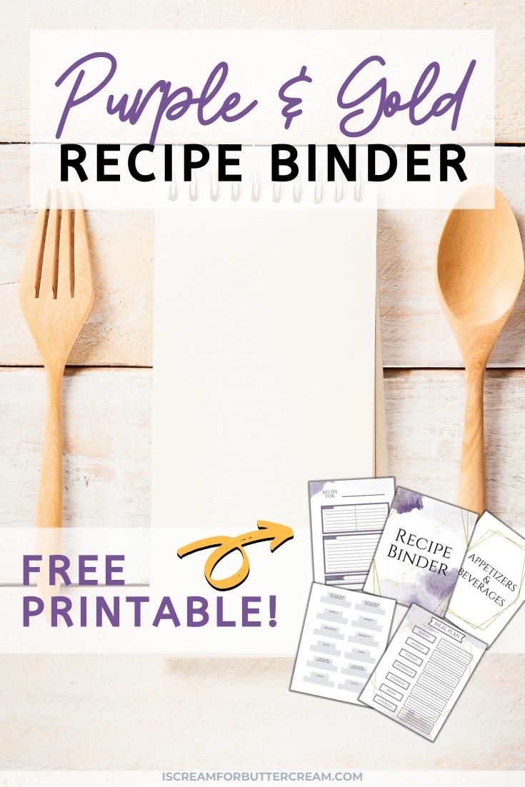Grafica pin stampabile raccoglitore ricette viola e oro gratuita