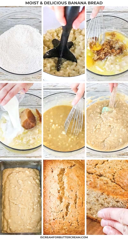 banana bread process collage