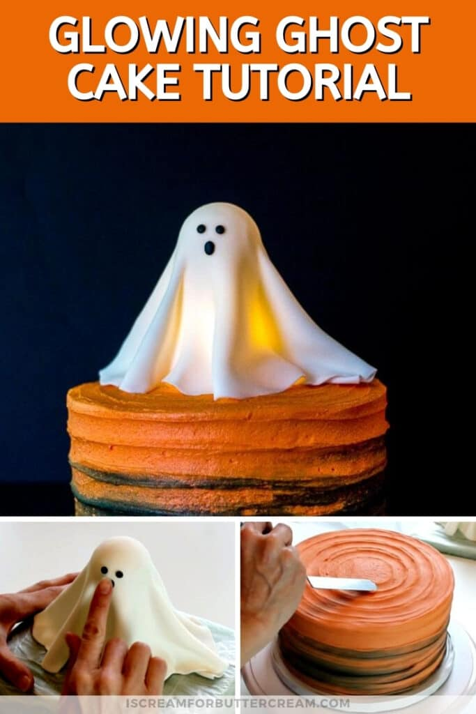 Glowing Ghost Cake Tutorial pin graphic
