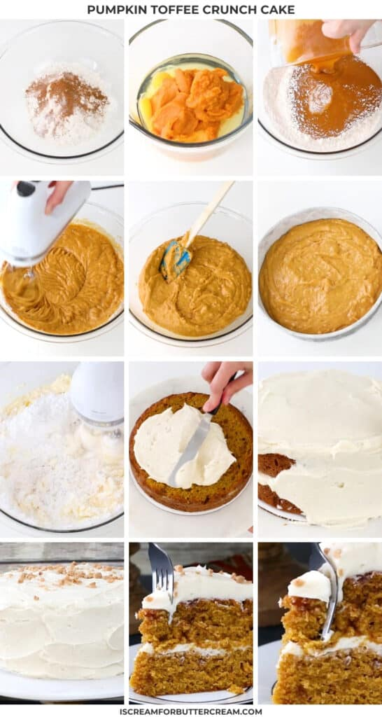 collage of pumpkin toffee cake