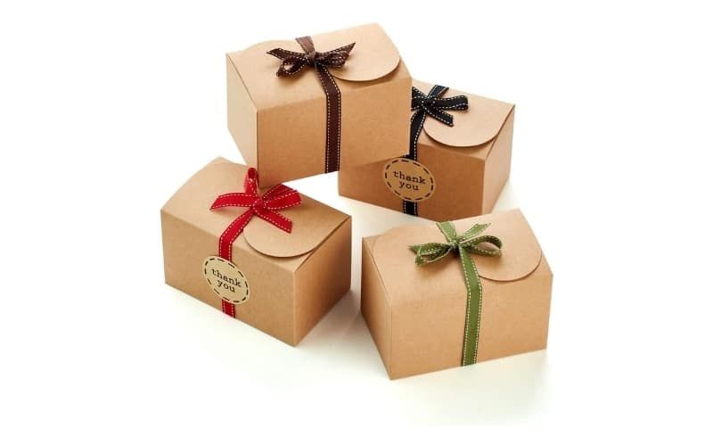 Treat Boxes with Ribbons and Thank You Stickers