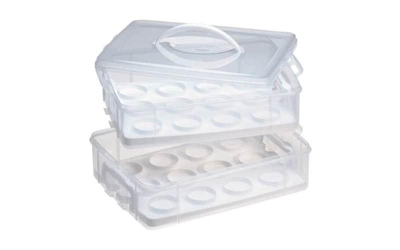 white cupcake carrier for two dozen cupcakes