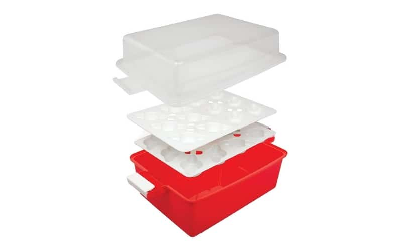 collapsible red and white cupcake carrier