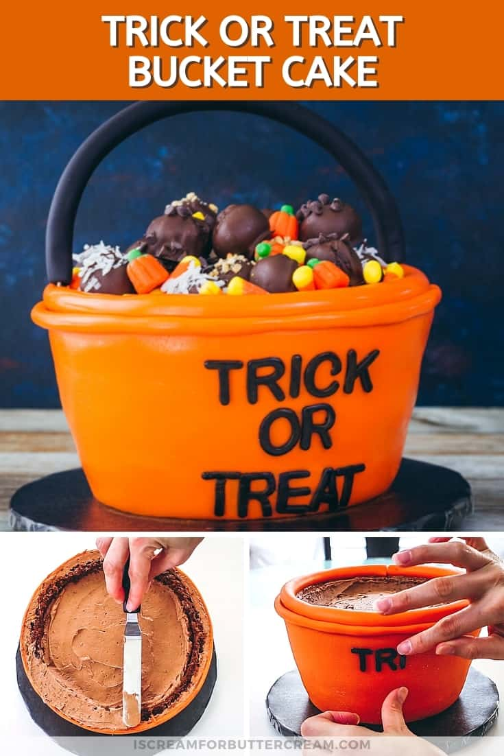 Trick or treat bucket cake for halloween