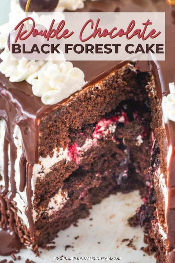 close up of cut black forest cake with text