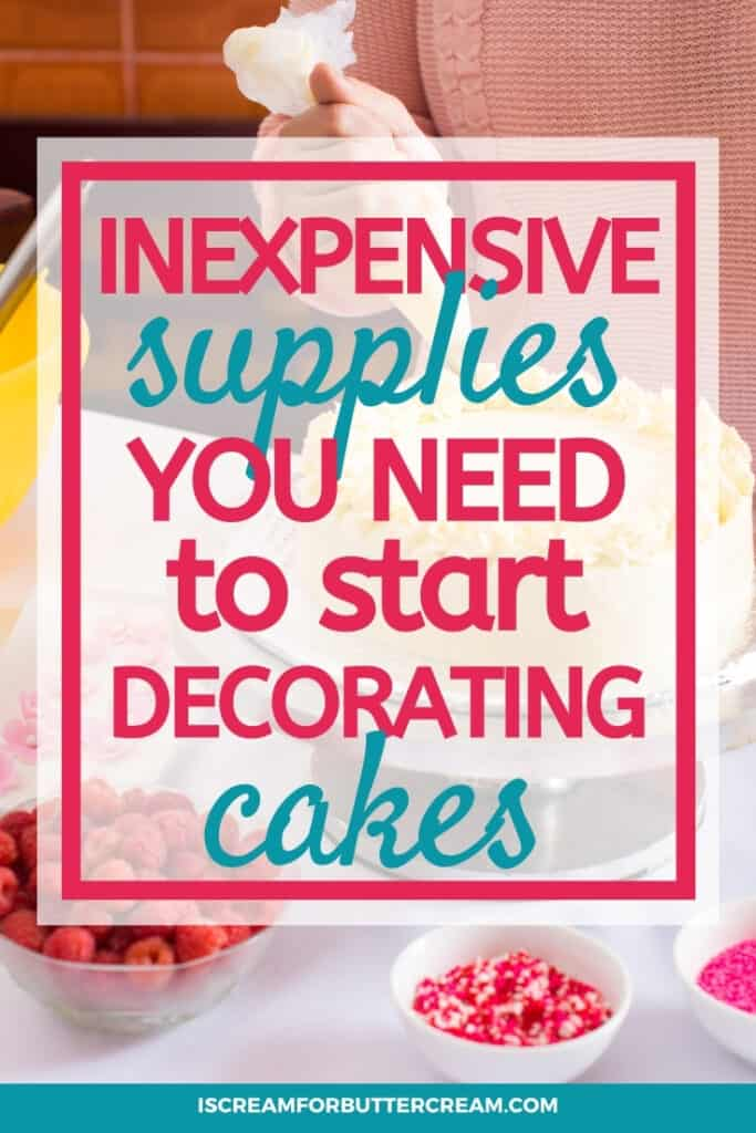 supplies to use for decorating cakes pin graphic