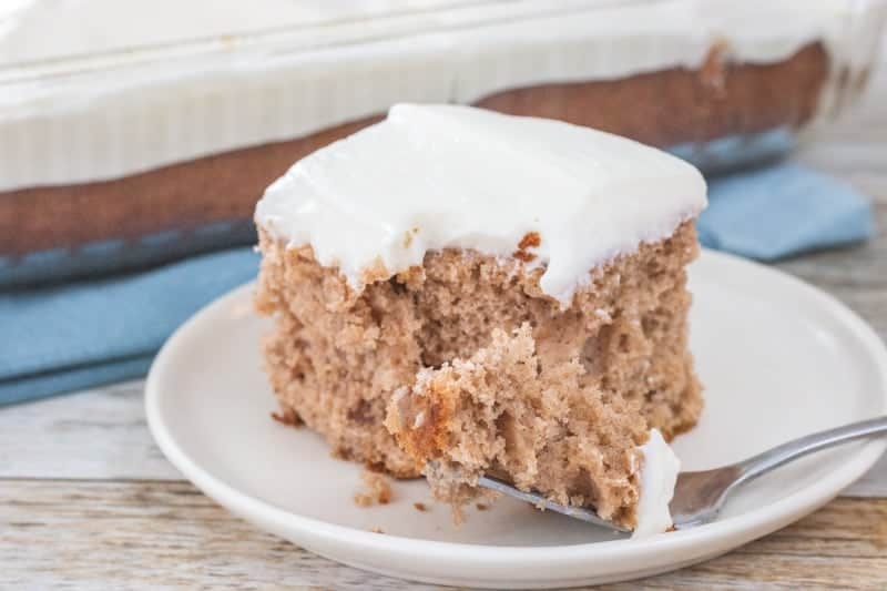 apple spice cake with fork