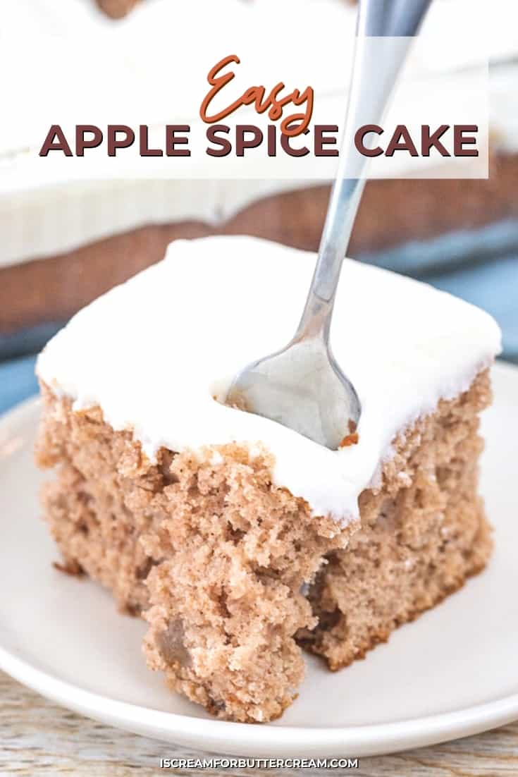 apple spice cake with cream cheese buttercream pin graphic