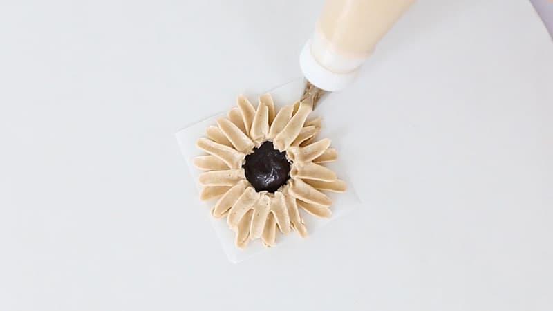 piping buttercream sunflower petals