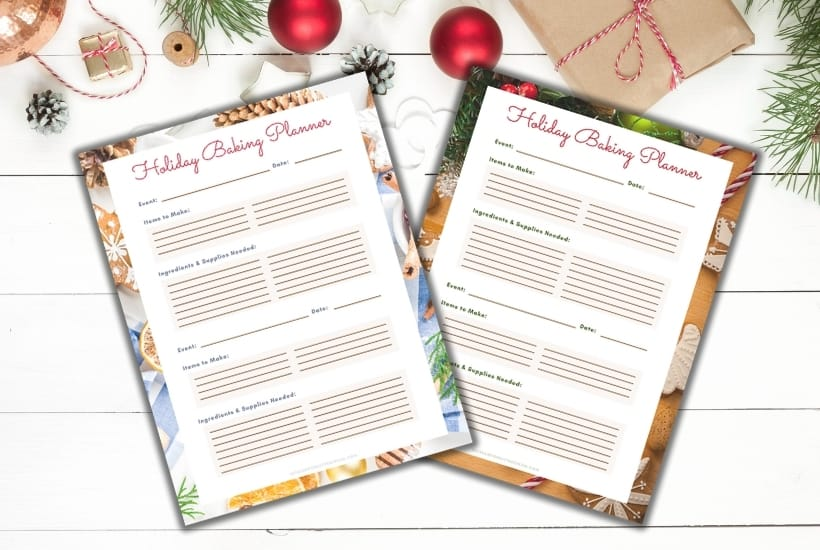 holiday baking planner on christmas background