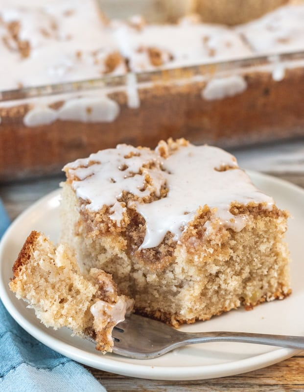close up of apple cake with fork