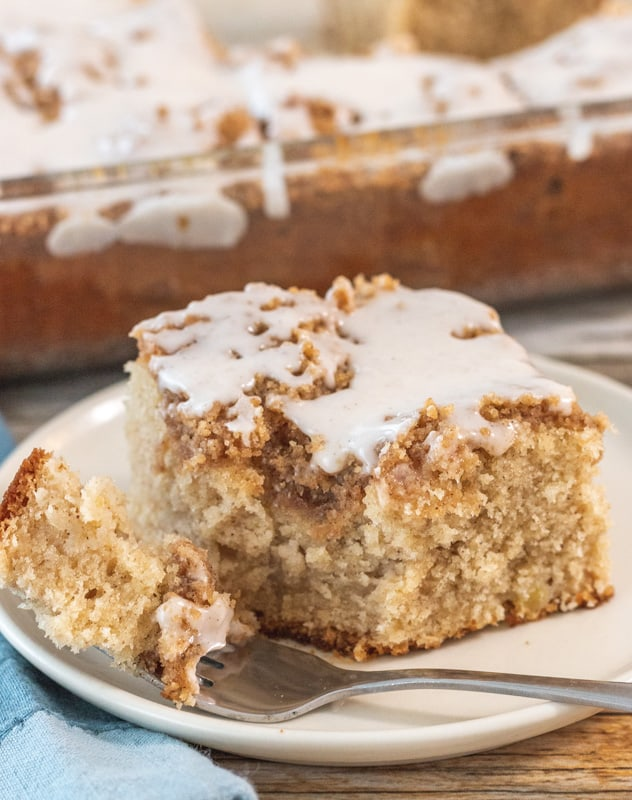 large slice of apple cinnamon cake with fork