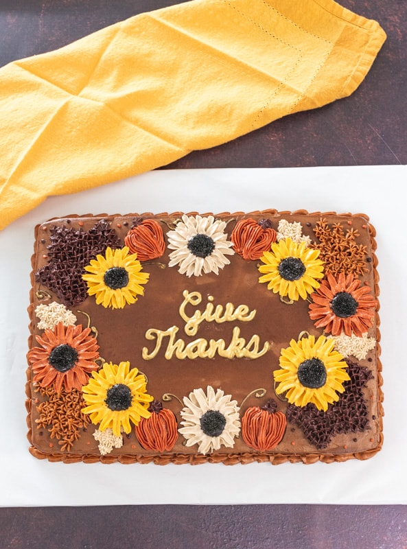 thanksgiving decorated cake with sunflowers