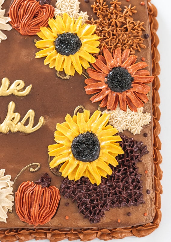 close up view of buttercream sunflowers on chocolate cake