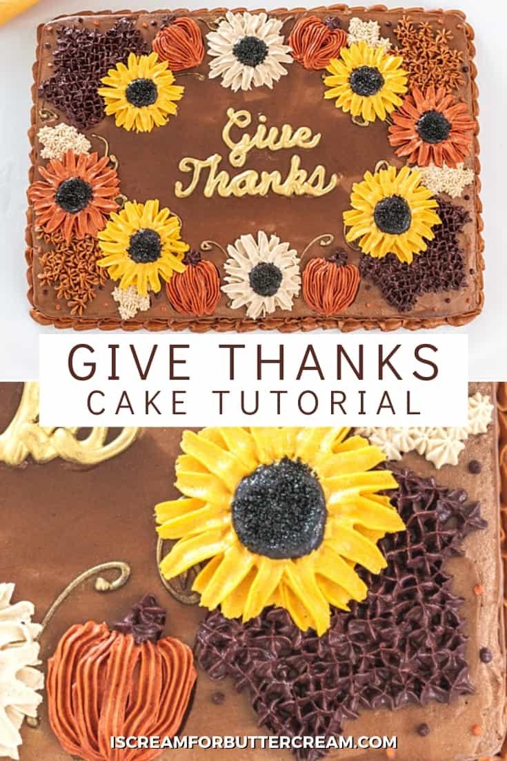 give thanks thanksgiving cake pin image