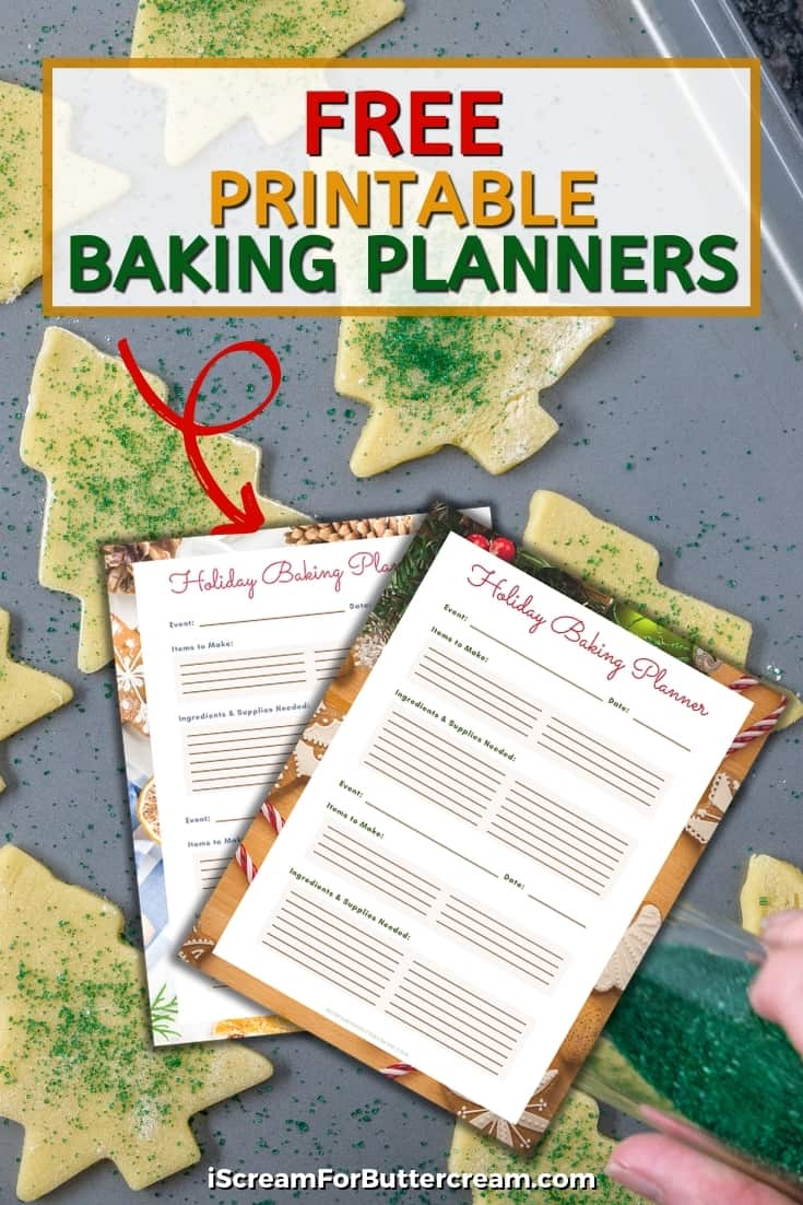 holiday baking planner printable pin graphic