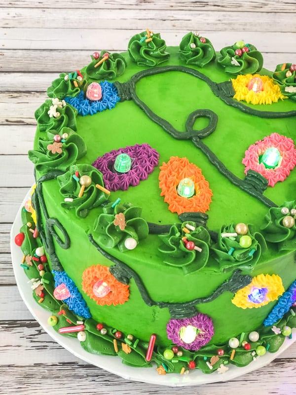 close up top view of christmas light cake