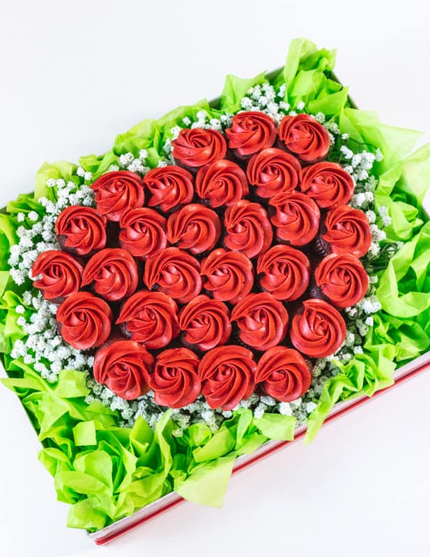 top view of valentines cupcake bouquet with red cupcakes