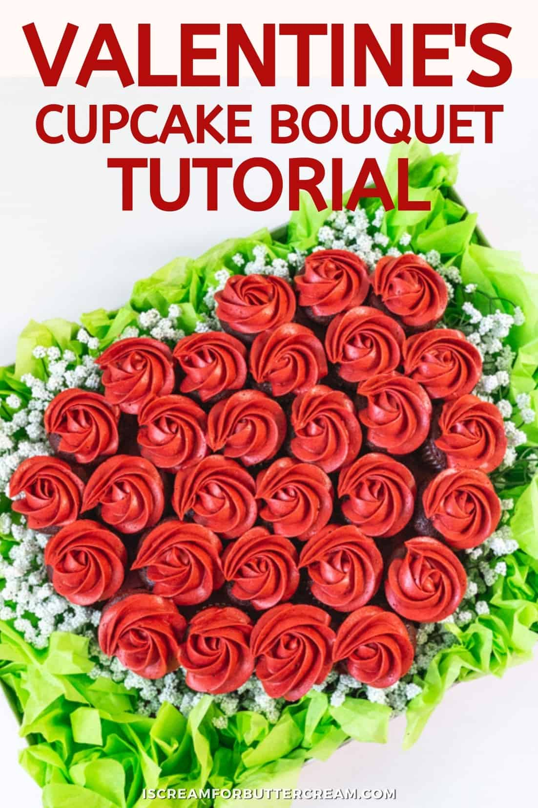 Easy Valentine's Cupcake Bouquet in a Box Pinterest graphic