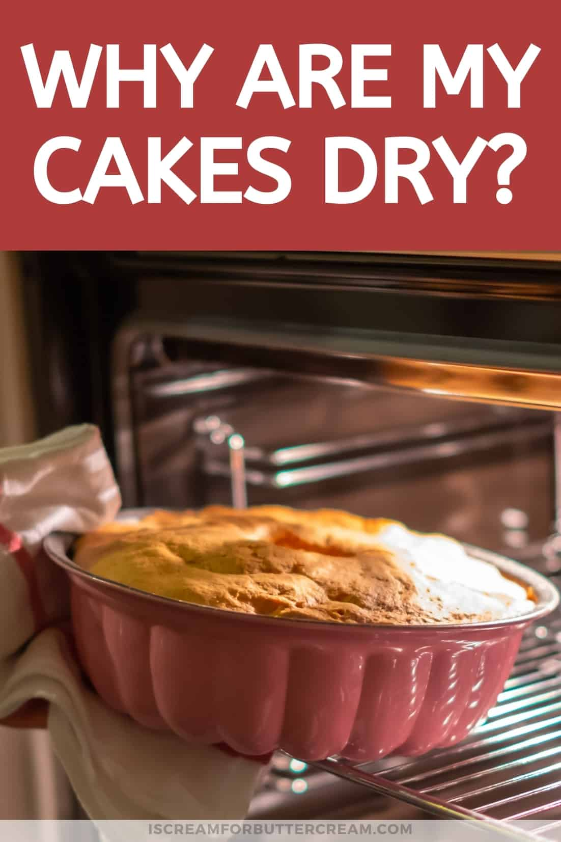 why are my cakes dry pinterest graphic with cake and print