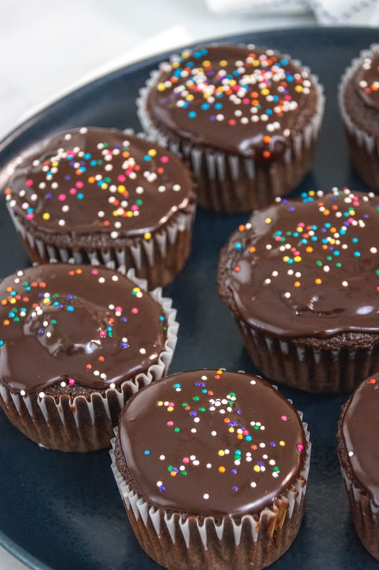chocolate topped cupcakes with sprinkles