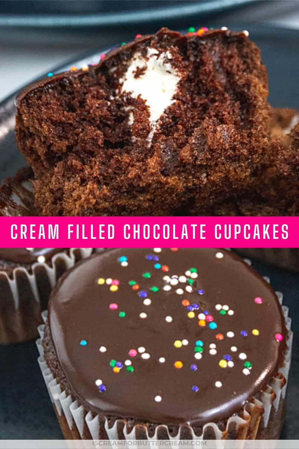 pic of chocolate cupcakes with one cut open and text overlay pin graphic