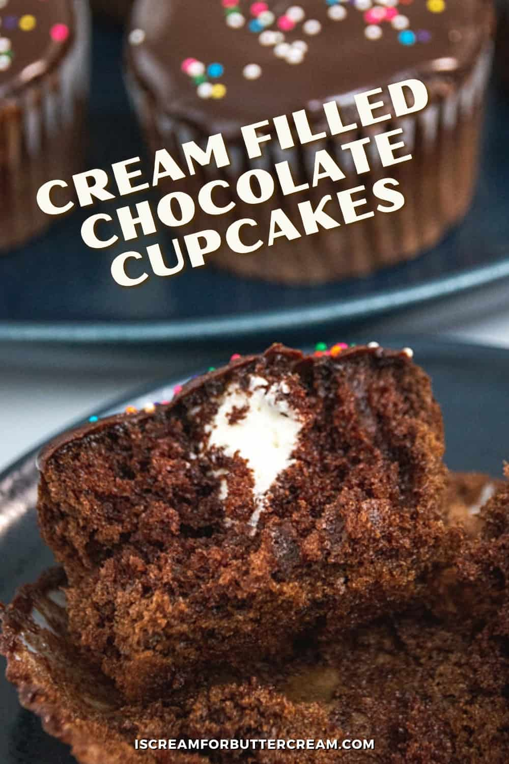 chocolate cupcakes with cream filling pin graphic