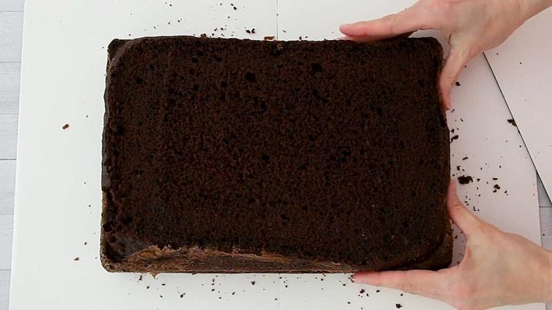 add top chocolate cake layer