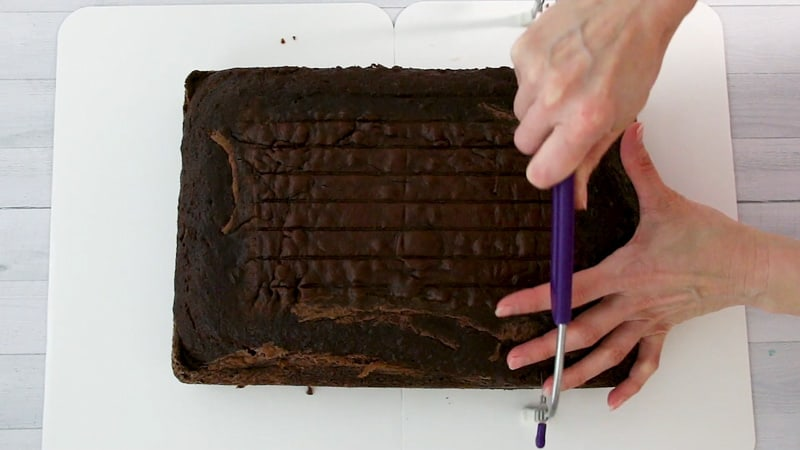 slice the cake into two layers