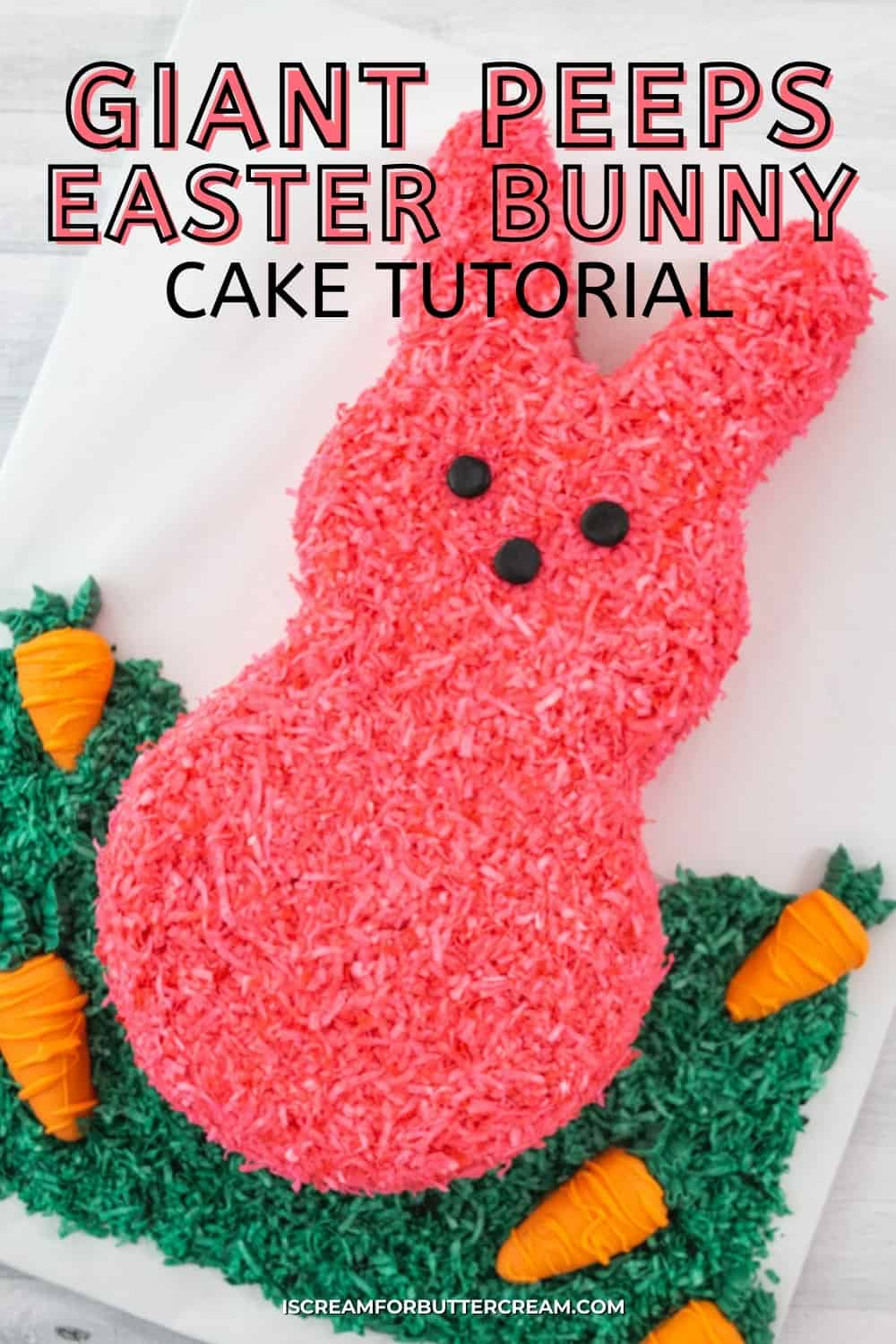 easter bunny peeps cake pin image with text overlay