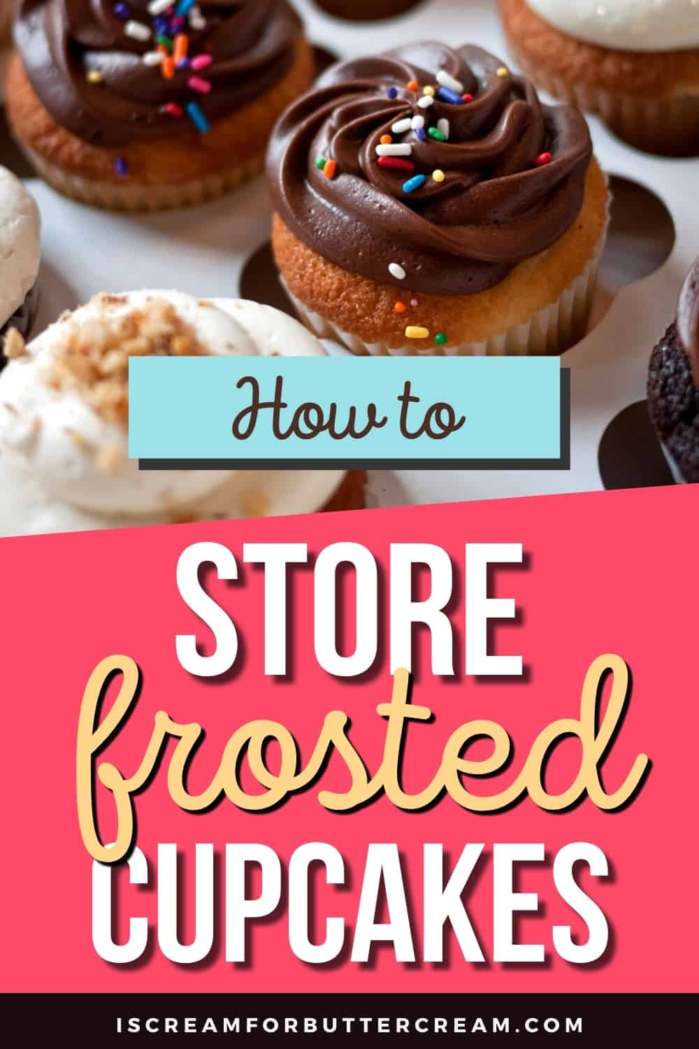 how to store frosted cupcakes pin graphic