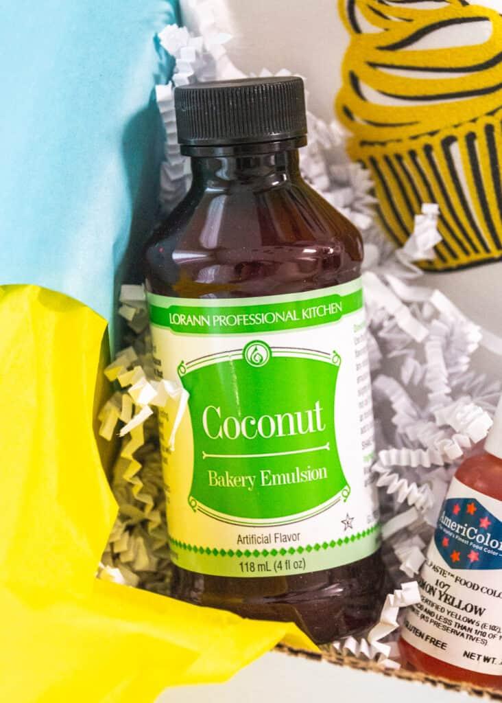 coconut emulsion in cake box