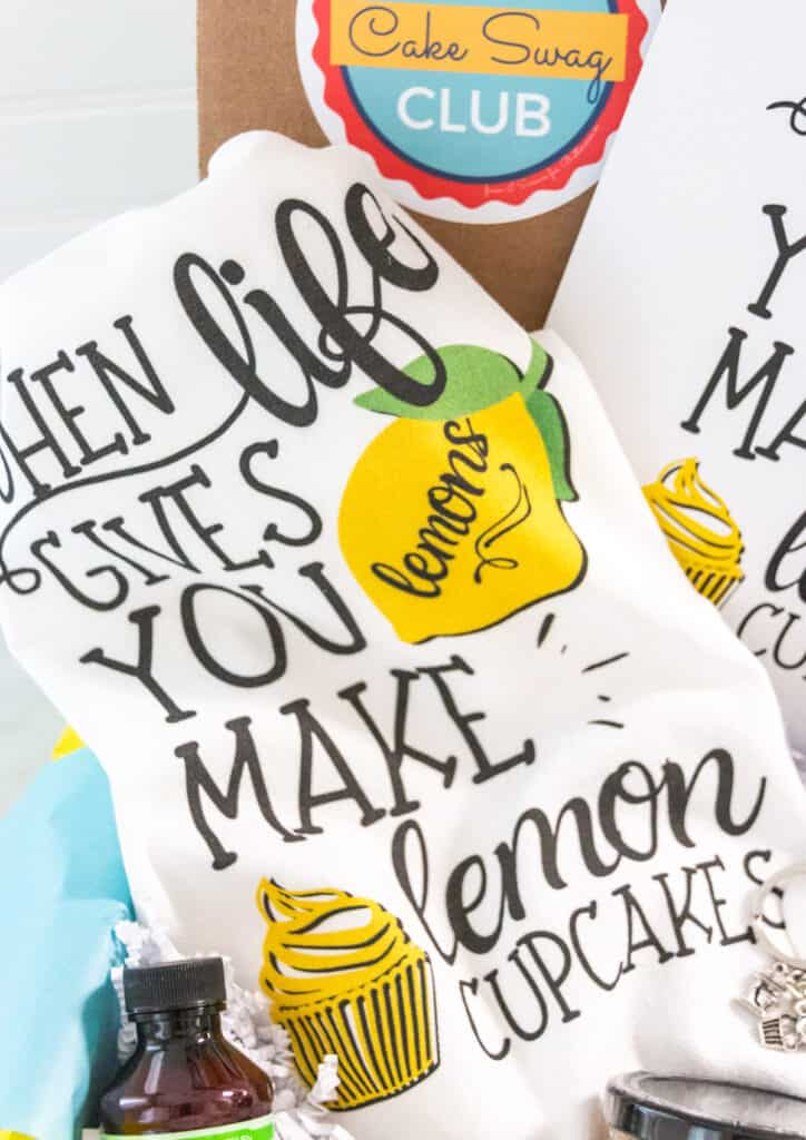 lemon cupcake themed kitchen towel