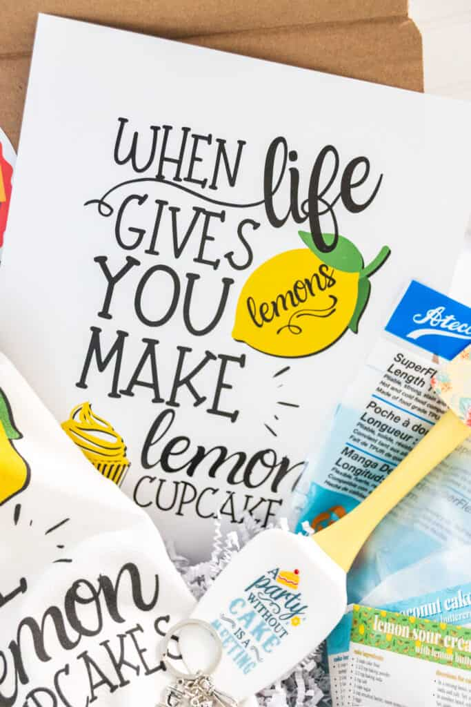 lemon cupcake themed frameable print
