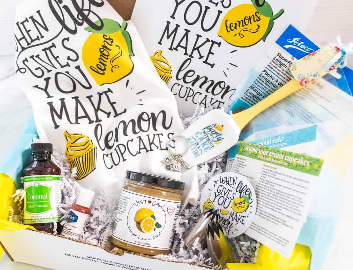 april cake swag box with lemon items