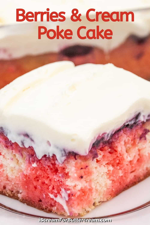 pin graphic closeup of jello poke cake