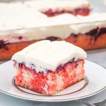 jello poke cake with cream topping