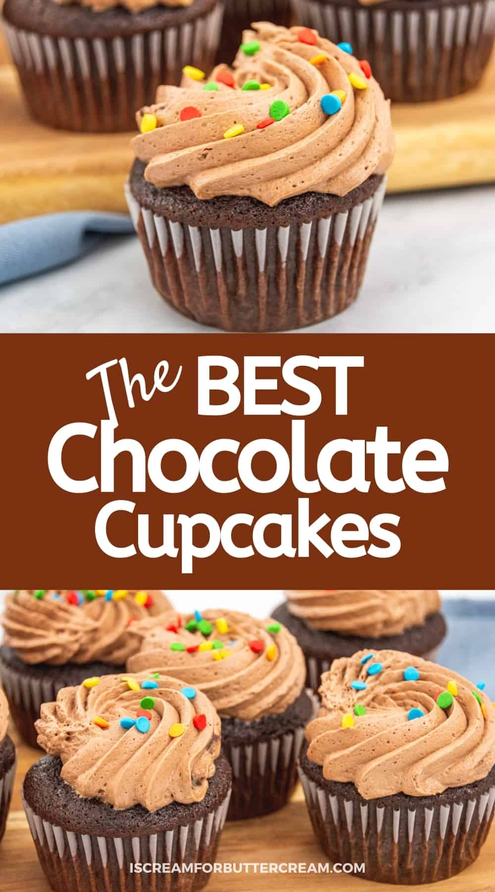 collage of cupcakes with chocolate buttercram and text