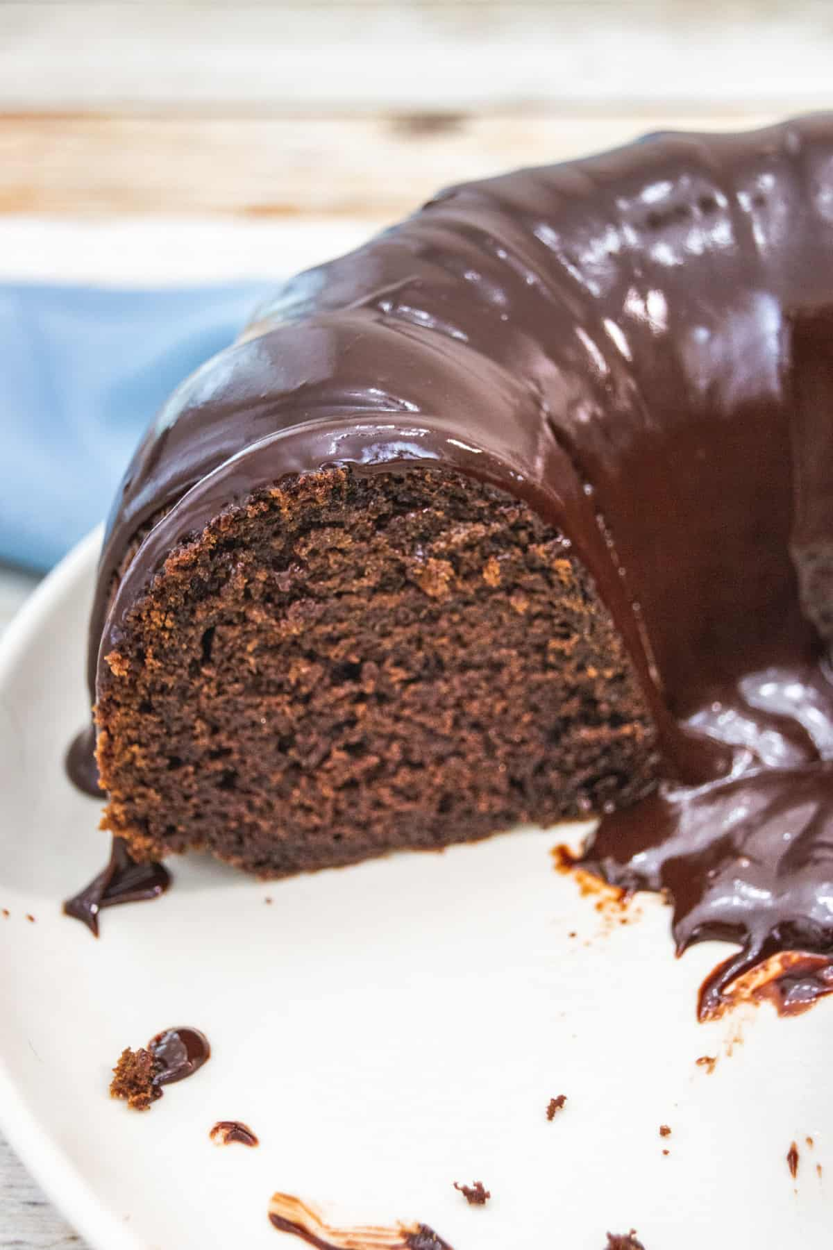 chocolate pound cake with glaze on a plate