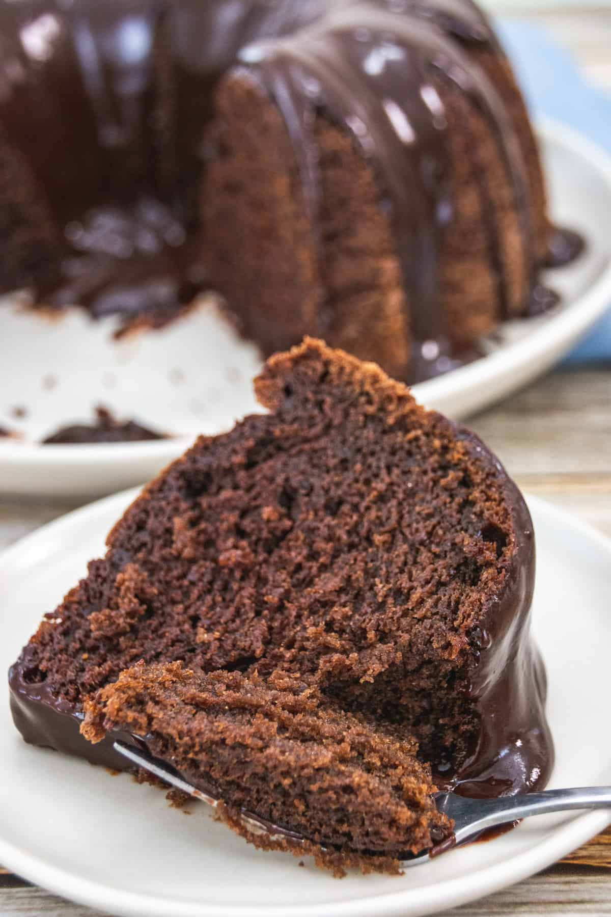 close up of chocolate cake slice on plate with fork