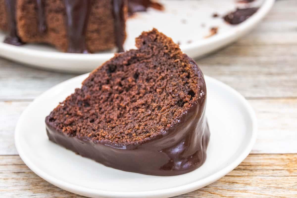 slice of chocolate pound cake on a plate
