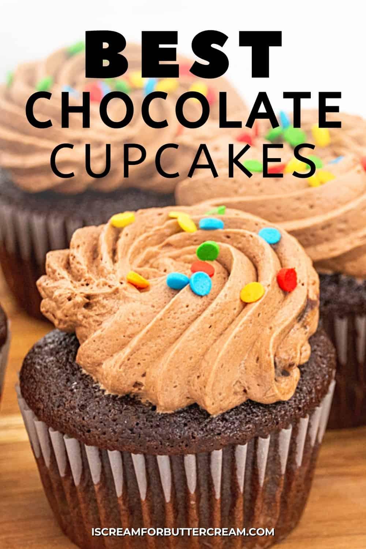 best chocolate cupcakes main pin graphic